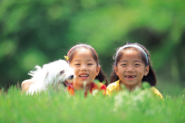 2 girls with a white dog in grass - How Do Dogs Show Affection to Humans?