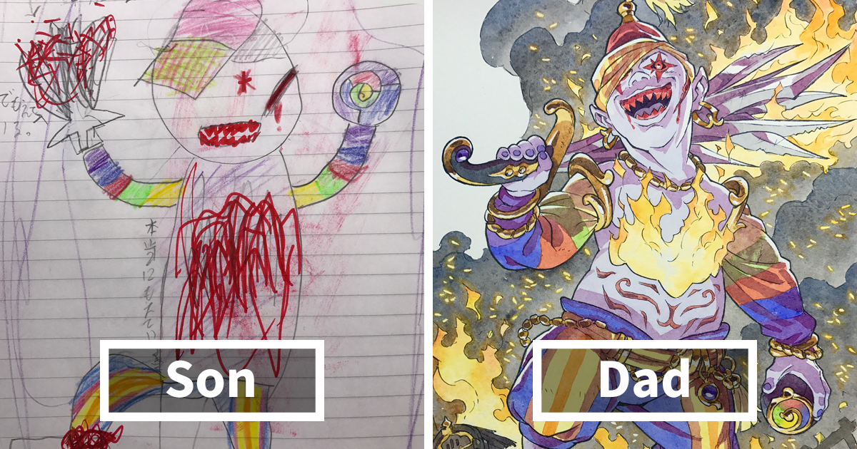 dad kids drawings thomas romain fb2 - Dad Turns His Sons' Doodles Into Anime Characters, And The Result Is Amazing (Part IV)